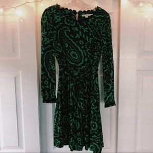 Printed Boden Dress with Tie Waist and Lace Detail